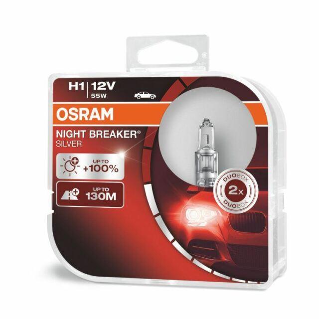 OSRAM 64150NBS-HCB NIGHT BREAKER SILVER H1 12V 55W Headlight Bulbs (Twin)