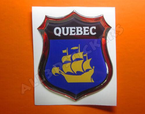 3D Emblem Sticker Resin Domed Flag Quebec City Adhesive Decal Vinyl
