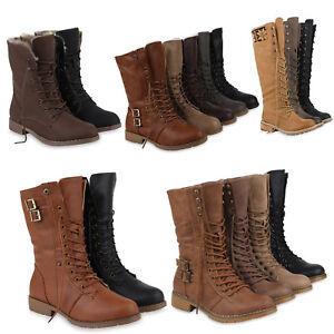 b488c67e52131f Das Bild wird geladen Damen-Stiefel-Worker-Boots -Schnuerstiefel-Profilsohle-77082-Schuhe