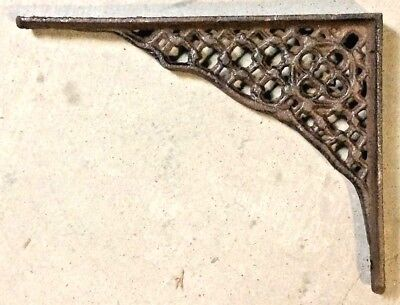 SET OF 4 LARGE HONEYCOMB LATTICE SHELF BRACKET BRACE Rustic Antique Brown Iron