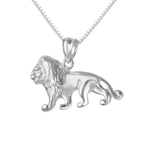 "Made in USA Charm Sterling Silver LION Pendant 18/"" Italian Box Chain"