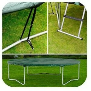 Plum-Accessory-Pack-8ft-Trampoline-Cover-Ladder-Anchoring-Kit-Windproof-Green