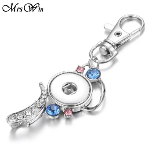 New Crystal Silver Key ring Fit 18mm Snap button Metal Lanyard Pendant