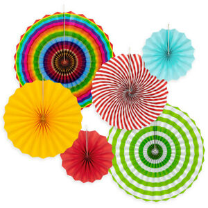 Details About 6pk Hanging Paper Fans Rosettes Event Party Wedding Decorations Pom Pom Fiesta