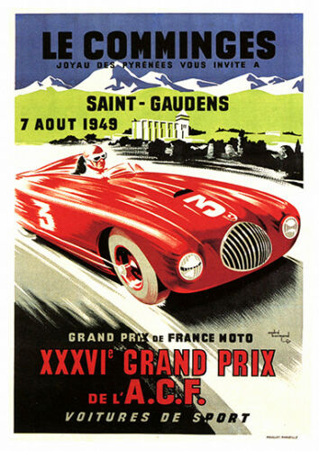 Le Comminges Vintage French Racing advert Reproduction poster Wall art.