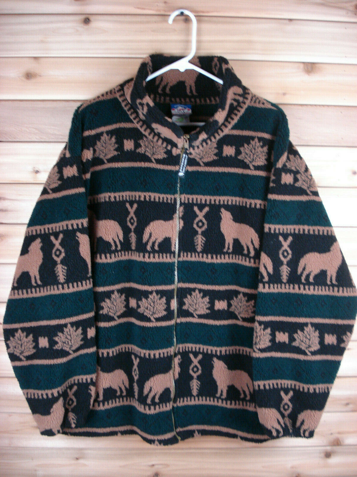 Northern Lifestyles Wolves Howl Maple Leaves Fleece Full Zip Jacket Canada XXL