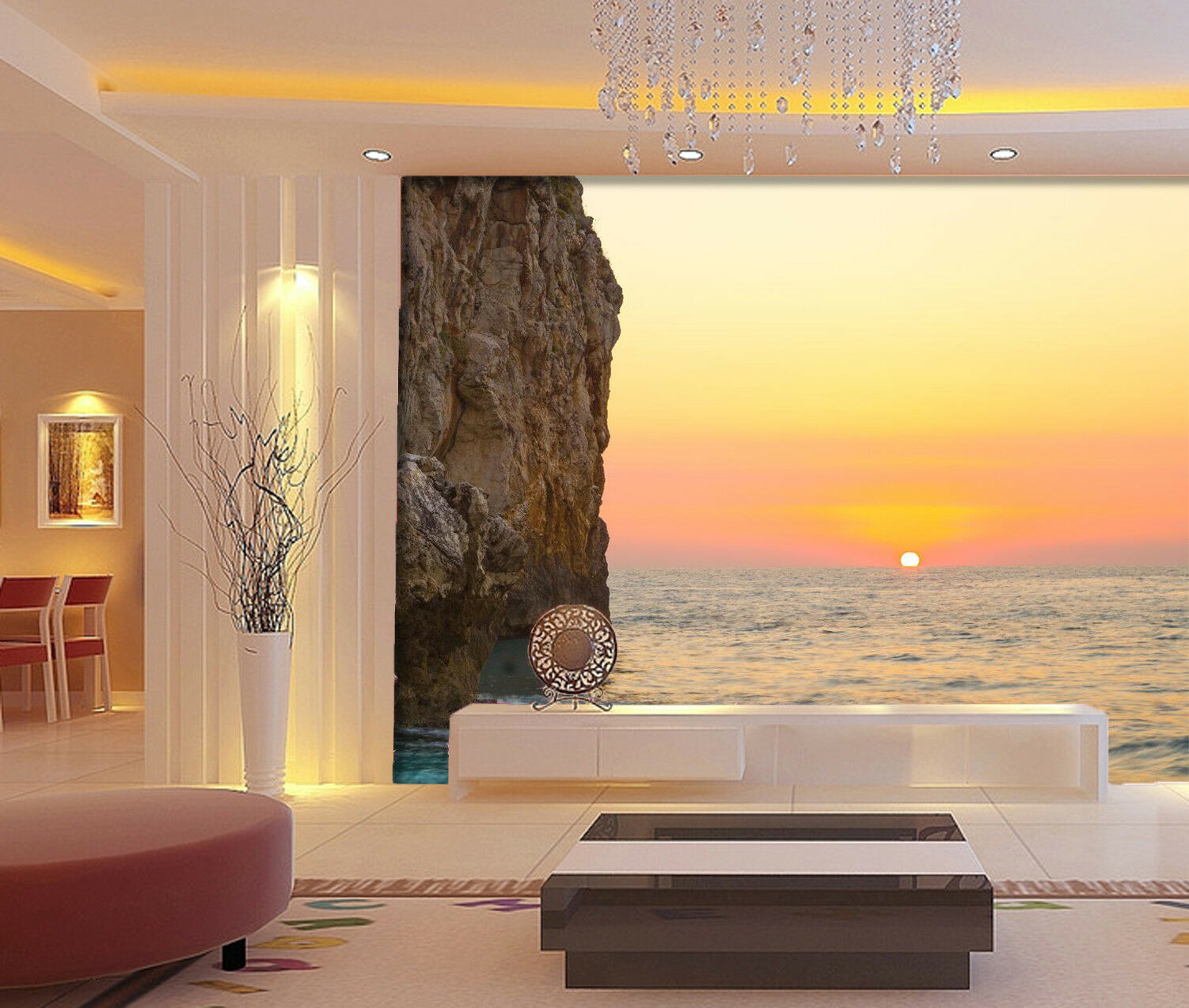 3D Sunrise Cliff Sea 7 Wall Paper Murals Wall Print Wall Wallpaper Mural AU Kyra