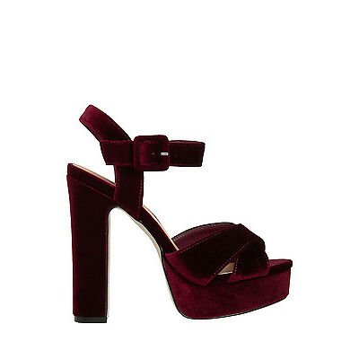 NEW Miss Shop Sabrina Burgundy Velvet Sandal