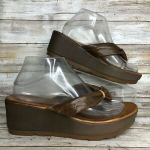 Miz-Mooz-9-5-10M-Brown-Soft-Leather-Platform-Casual-Sandal-2-5-034-Wedge-Heel
