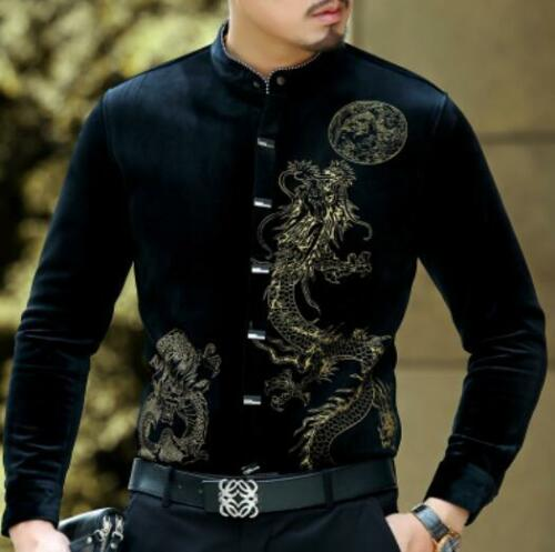 Mens Chinese Style Dress Formal Shirt Party Casual Long Sleeve Stand Collar 2019