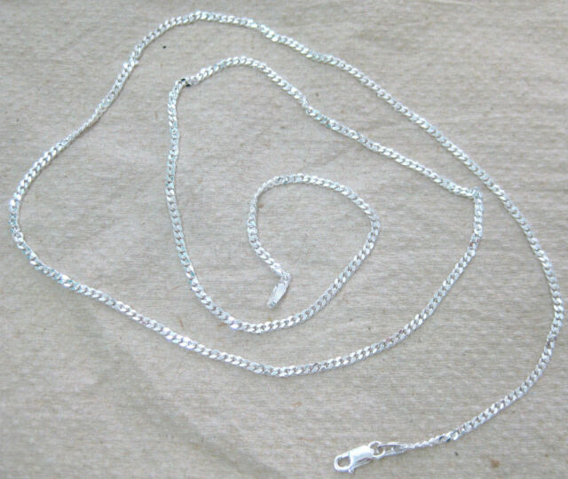 """ITALY 925 STERLING SILVER 2mm CURB CHAIN14""""16' 18' 20' 22' 24' 26' 28' 30' 40"""""""