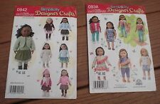 """Pair of Simplicity Designer Crafts 0938 & 0942 18"""" Doll Clothes UCFF"""