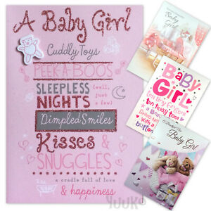 Détails Sur Baby Girl Carte Félicitations Sur La Naissance De Bébé Fille Carte De Vœux Afficher Le Titre Dorigine