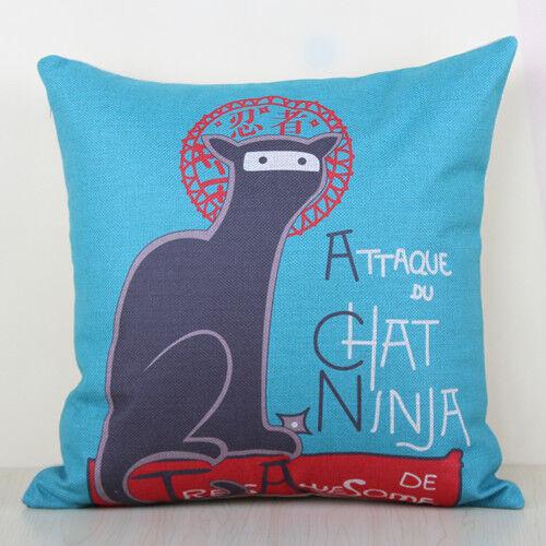 "Ninja Cat Attaque Du Chat Cotton Pillow Case Decor Cushion Cover Square 18""x45cm"