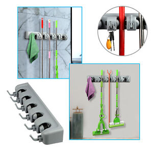 Kitchen-5-Position-Wall-Mount-Mop-Broom-Holder-Hanger-Cleaning-Home-Organizer-US