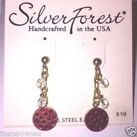 Silver Forest Earrings Gold On Silver Dot Disk Cascade Post Ne0731 Gift