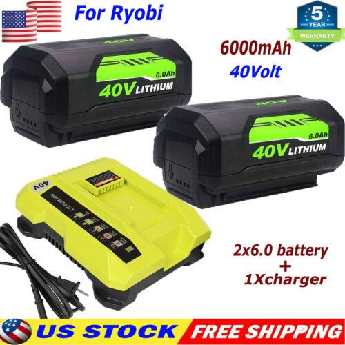 For Ryobi Battery 40V 6.0Ah Li-ion 40Volt OP40501//Charger for 40V Li-ion battery