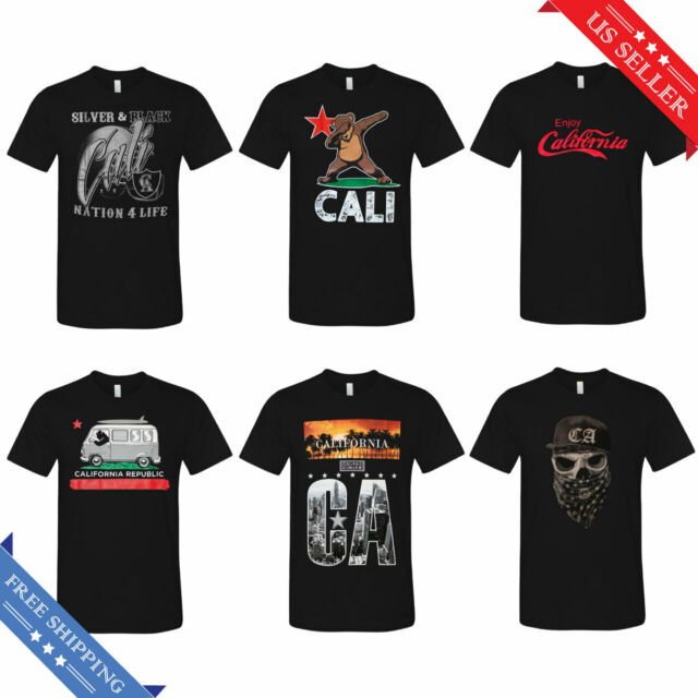 CALI LIFE CALIFORNIA State Bear Funny T-Shirt Black  New Men/'s Tee