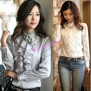 54fe748c75277b Korean Lady's Career Long Sleeve Formal Top High Neck Frilly Ruffle ...