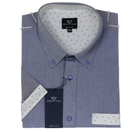 Mens Cotton Valley Big Size Dobby Denim Short Sleeve Grandad Shirt 2XL 3XL 4XL