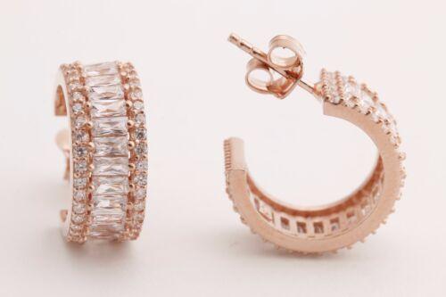 Elit Turkish Jewelry Baguette Topaz Rose Gold 925 Sterling Silver Hoop Earrings