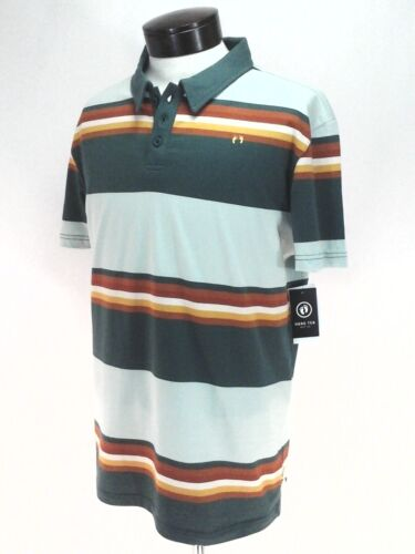 HANG TEN Polo Shirt Green Multi Stripe Sewn Logo Surf Beach Men/'s Slim Fit New