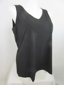 Susan-Graver-Size-1X-Black-Liquid-Knit-V-Neck-Tank