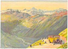 POSTCARD SWISS TOURISM ALPINE MOTOR COACH THROUGH MOUNTAINS