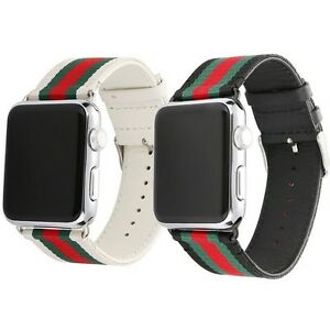 Apple Watch Nylon Skin Leather Black white Red Green iWatch Band ... fc31ed640304