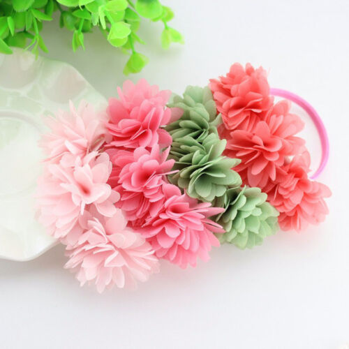 2015 Chiffon Flowers Baby Girls Rubber Bands Barrettes Headwear Hair Accessories