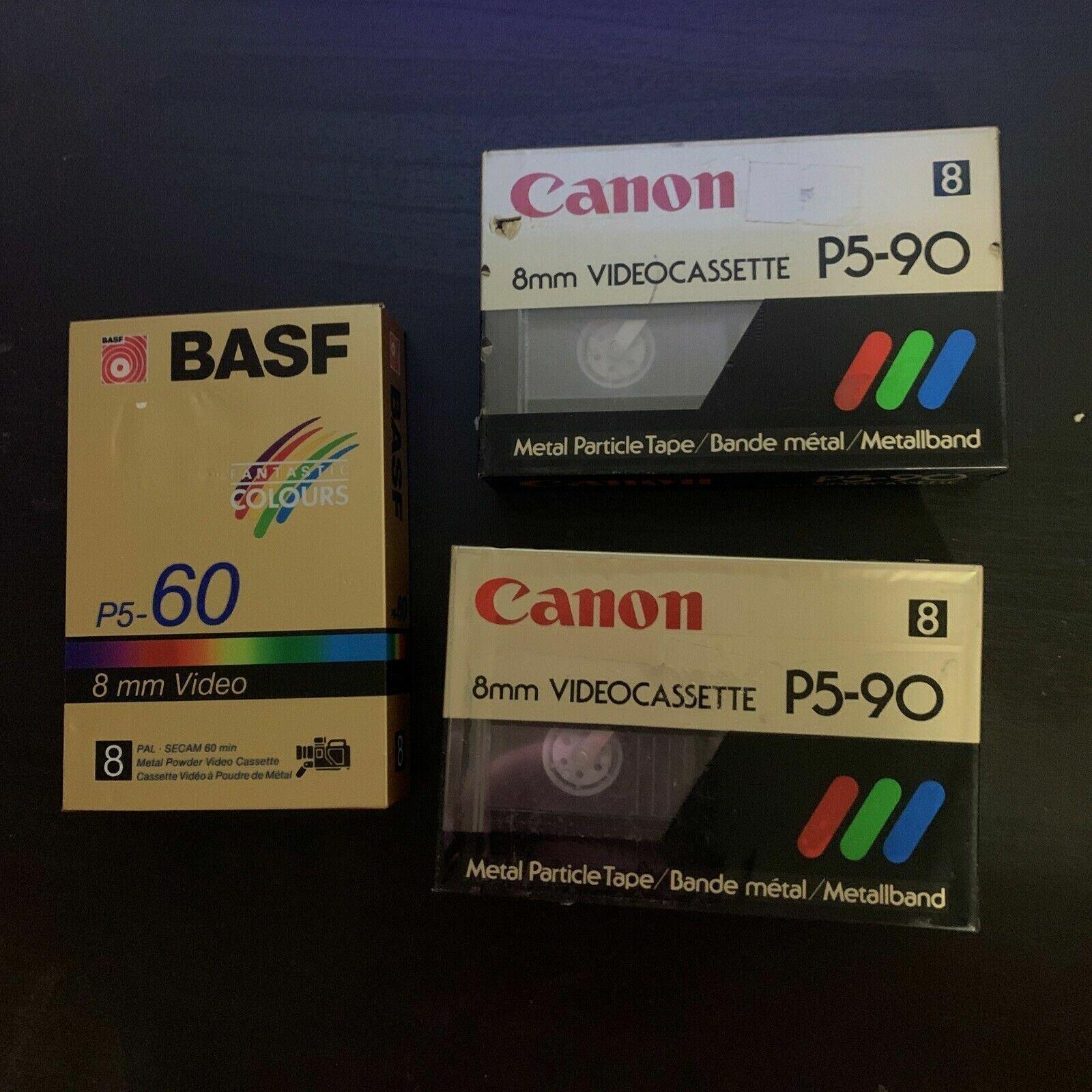 *New Sealed* 2x Canon P5-90 & 1x BASF P5-60 8mm Video Cassette PAL