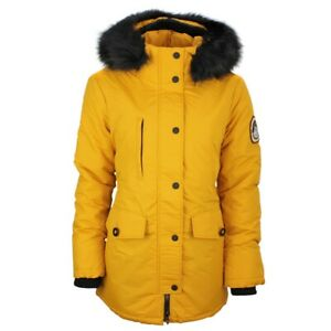 Détails sur Superdry Femmes Manteau Veste Ashley Everest Parka Jaune W5000010A ZB5 Moutarde