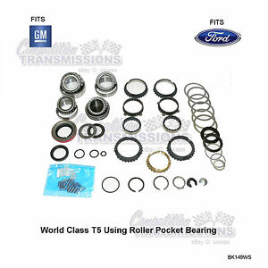 Details about T5 World Class 5 Speed Transmission Rebuilt Kit Bearing  Synchro Seals Ford GM WC