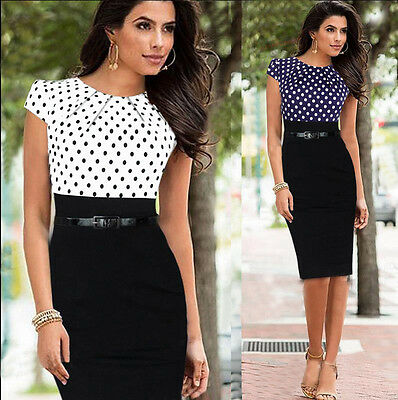 SUMMER Sexy Womens Cap Sleeve Bodycon Business Office Work Party Pencil Dresses