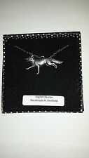 A3 Running Fox fine english pewter 3D Platinum Plated Necklace Handmade 18 INCH