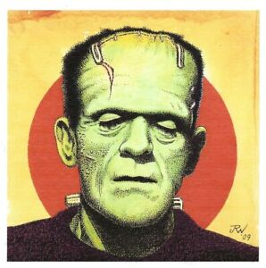 J.R. WILLIAMS 4 UNIVERSAL MONSTERS SIGNED PRINTS FRANKENSTEIN DRAC WOLFMAN MUMMY