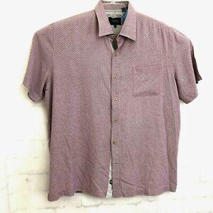 Nat-Nast-Mens-Short-Sleeve-Button-Front-100-Silk-Shirt-Sz-XL-Geometric