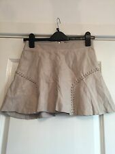 Gorgeous Women's Zara Cream Real Leather Frill Skirt Size XS Worn Once