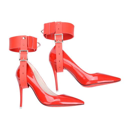 Verrouillage en cuir à ceintures Restraint Poignets fixes à Talons Hauts Chaussures brides