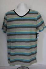 NEW Mens Top T Shirt Size 2XL Short Sleeve V Neck Casual Tee XXL Gray Blue Strip