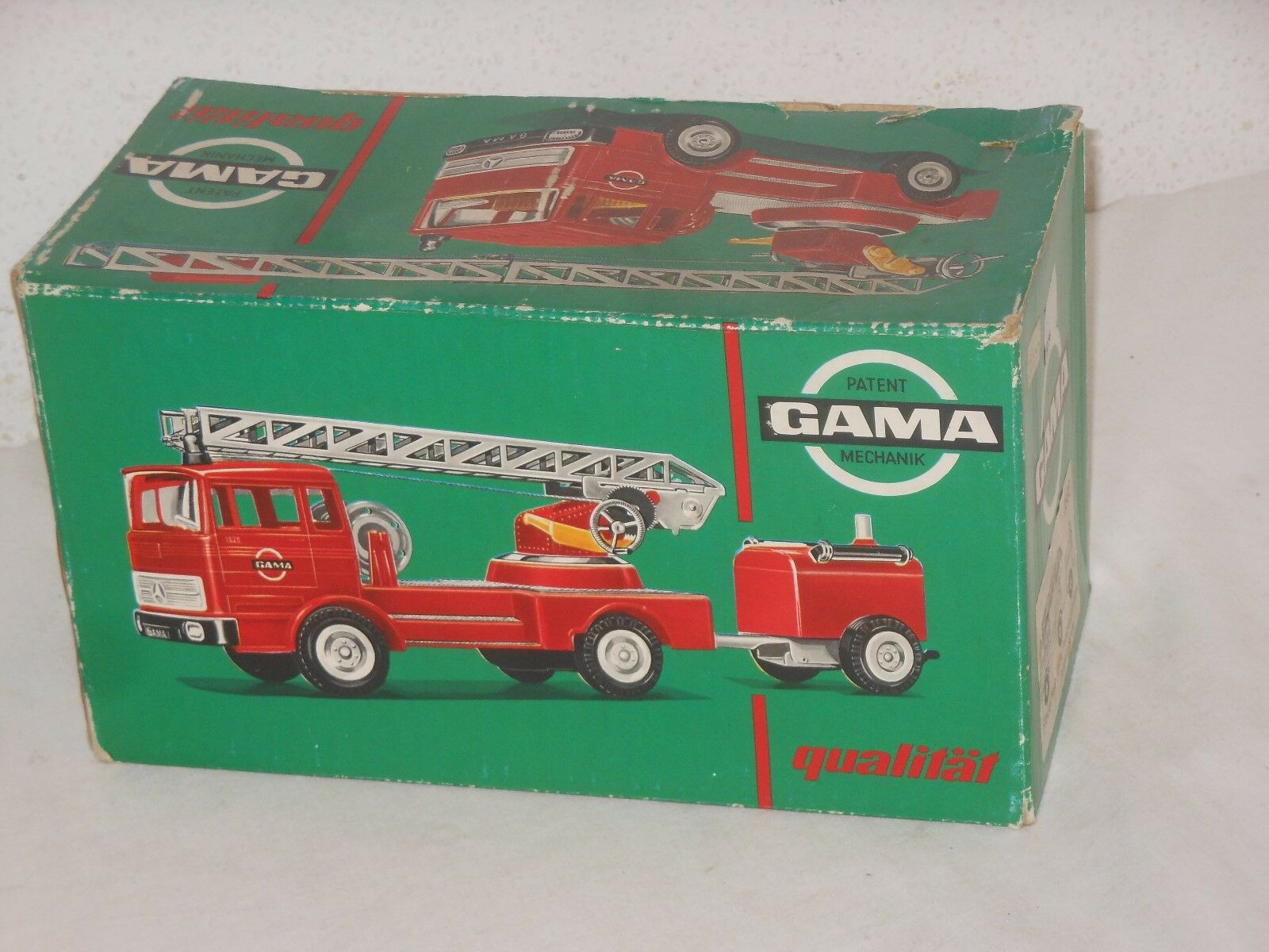 Mercedes Fire Brigade Wagon with Pendant Vintage Tin-Toy - Gama - West Germany