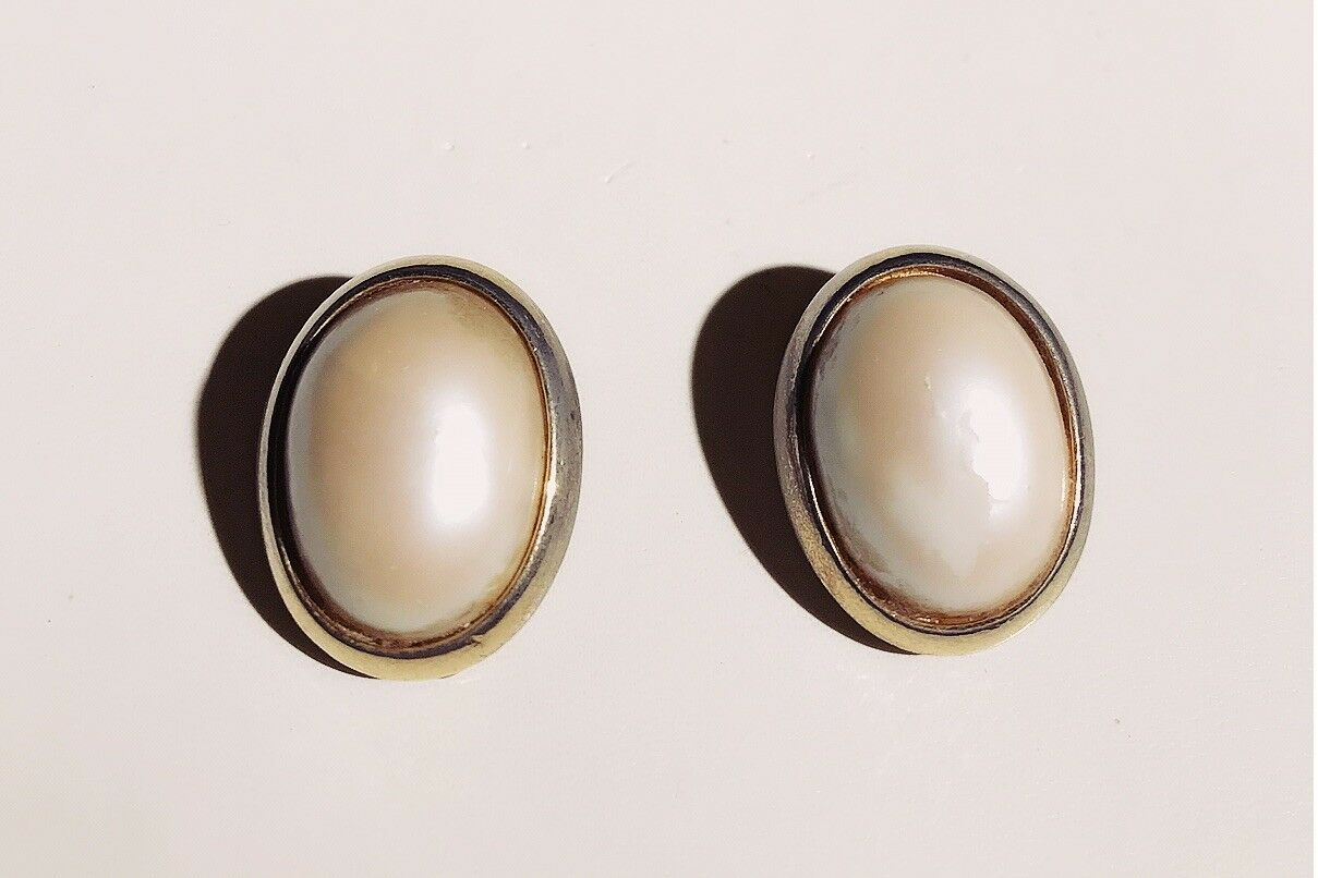 VINTAGE SIGNED - RICHELIs White Faux Pearl Oval in gold Frame Earrings