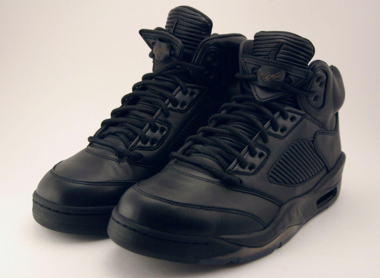 Nike Air Jordan 5 Retro Premium Triple Black Leather LUX 881432-010 Size 9.5 DS