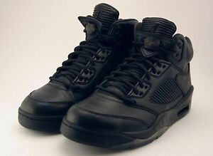 Nike Air Jordan 5 Retro Premium Triple Black Leather LUX 881432-010 ... 22d05b4f3