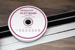 Klettband-selbstklebend-10m-Klett-10m-Flausch-20-25-50-100mm-schwarz-o-weiss