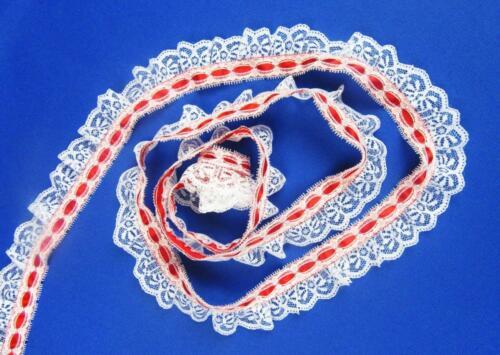 White Ruffled Candlewick Lace with Red Ribbon Top~By 5 Yards