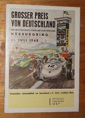 1960 Programm Grosser Preis Deutschland Nürburgring Bonnier Graf Trips Phil Hill