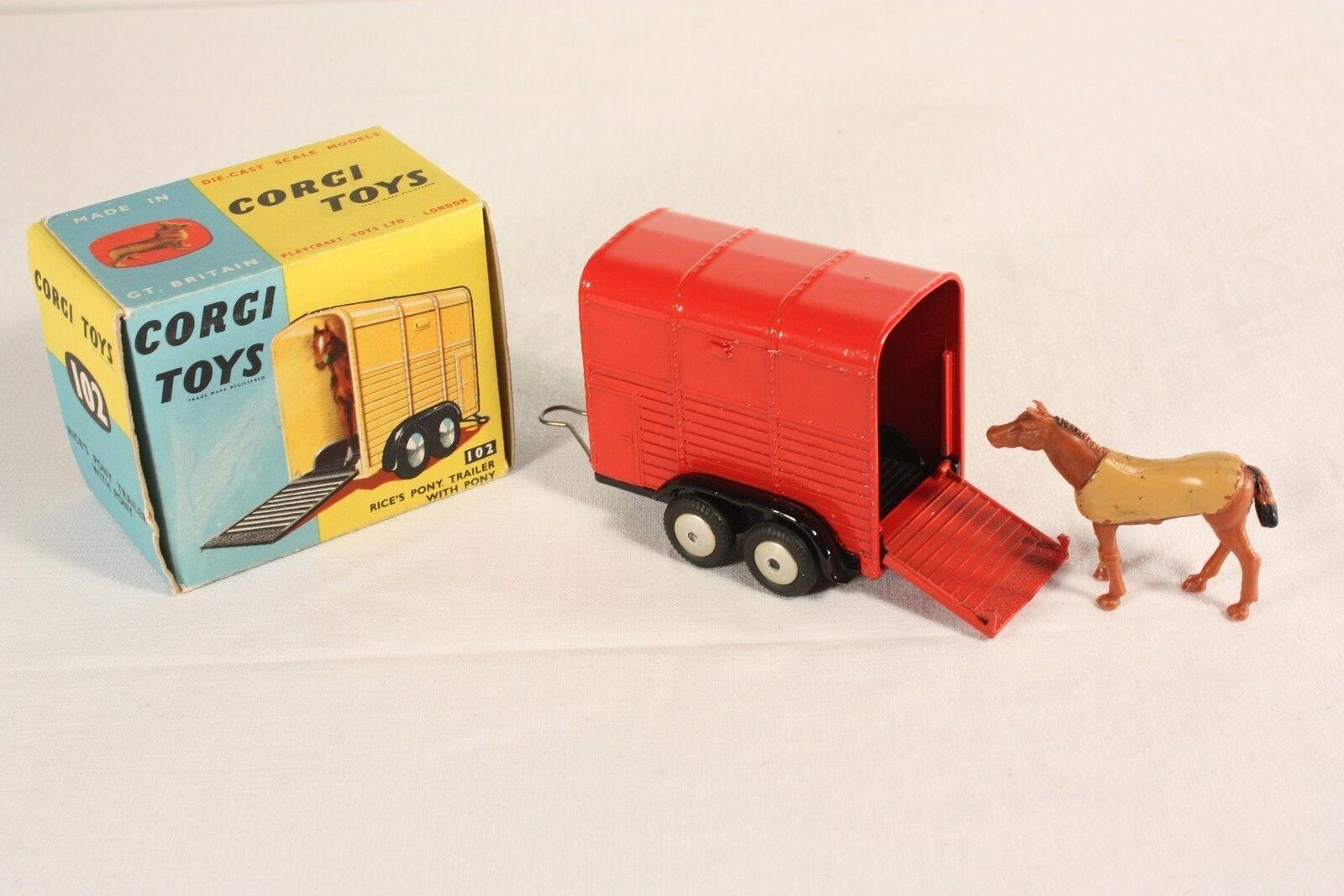 CORGI TOYS 102, RICE'S PONEY Caravane with Poney, Comme neuf Dans Box  ab563