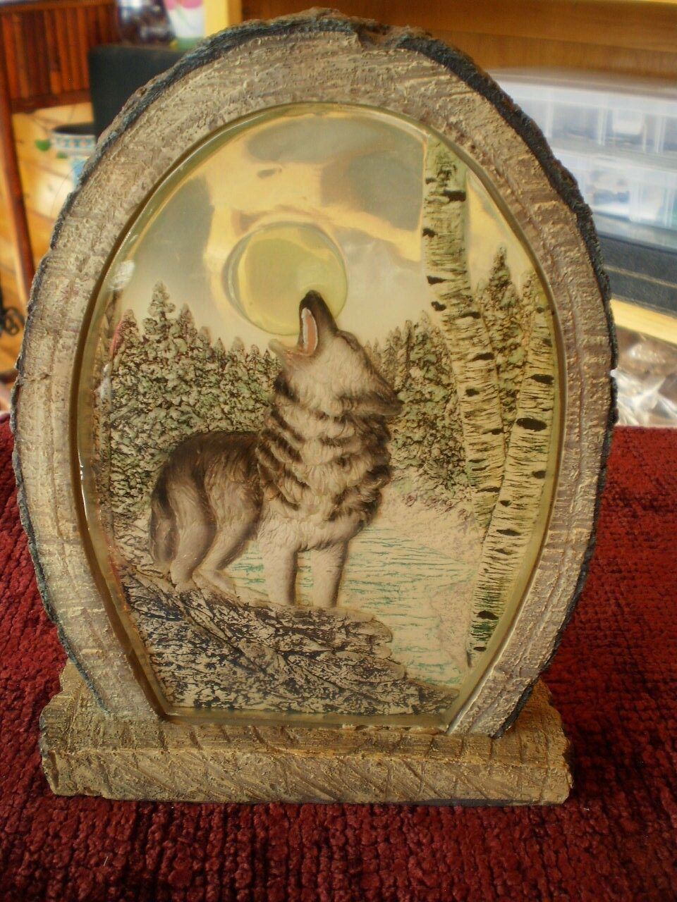 NICE Wolf Tea Light Candle Votive Shadow Holder Picture Glass Howling Moon 8