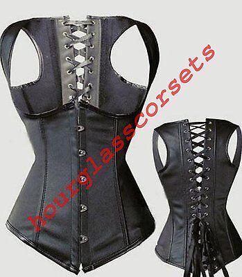 Sexy Black Underbust Satin Waistcoat Corset Top Basque Steel Boned Gothic Laced